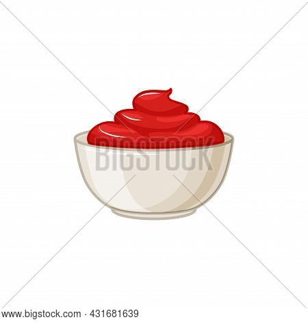 Ketchup Sauce Bowl On White Insulated Background. Seasoning In A Sauce Pan. Vector Cartoon Illustrat