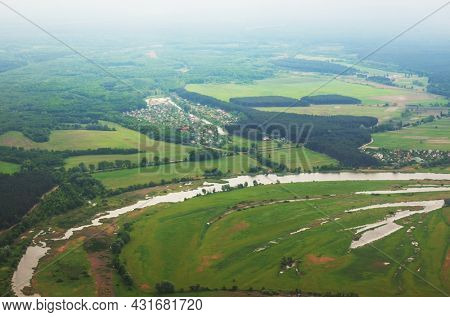 Aerial view of green rural landscapes