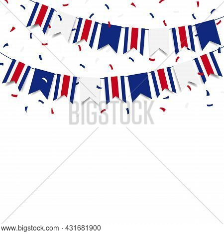 Vector Illustration. Independence Day In Costa Rica. Garland With The Flag Of Costa Rica On A White