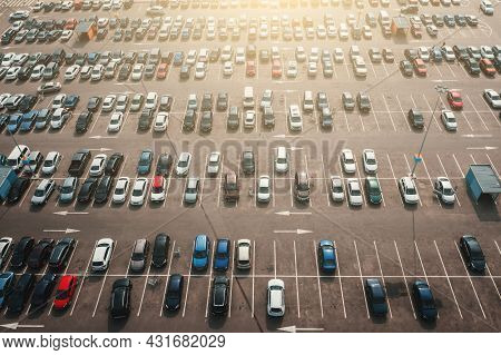 Shopping Mall Parking Lot With Many Cars, Aerial Top View From Drone.