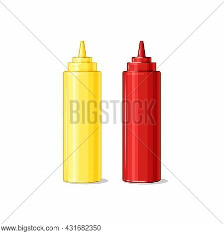 Bottles With Ketchup And Mustard On A White Isolated Background. Sauces. Vector Cartoon Illustration