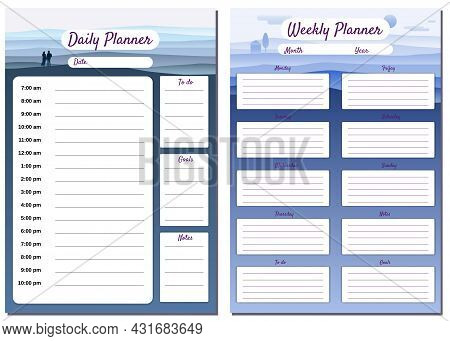 Weekly, Daily Planner Template Vector. Minimal Landscape With Couple Background, To Do List, Goals,