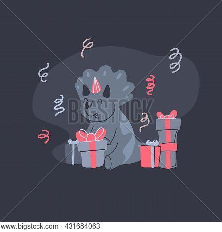 Happy Little Dinosaur Opening Birthday Gifts On Dark Gray Background. Festive Party. Vector Child Ca