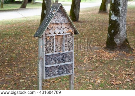Bug Hotel Wood Insect House Ladybird Wooden Bee Home In Natural Ecological Gardening Concept