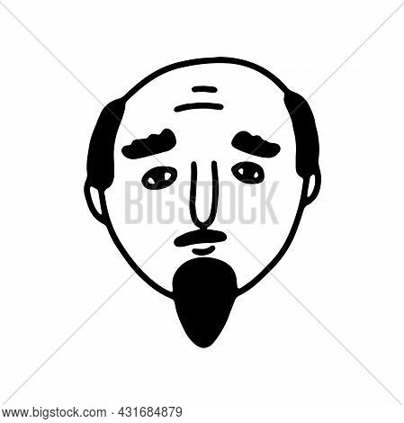 Doodle Bearded Man Face. Hand-drawn Outline Human Isolated On White Background. Funny Sad Avatar. Ca