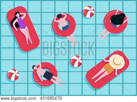 Swimming Background Vector Illustration In Flat Cartoon Style. People Dressed In Swimwear, Swim In S