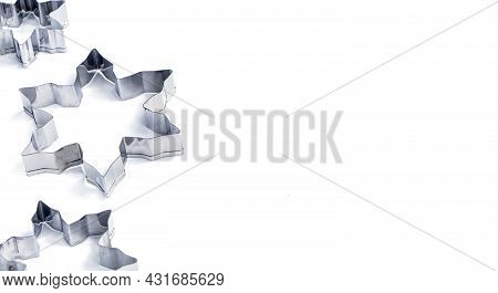 Selective Focus. Snowflake Cookie Cutters , Stainless Steel Cutter Mold Set