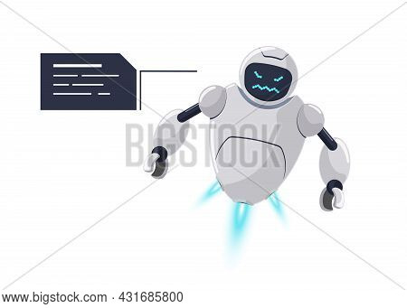 Cute White Flying Robot Character Angry. Futuristic Chatbot Mascot Furious With Speech Bubble. Tech