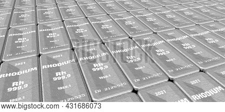 The Highest Standard Rhodium Bars. Lots Of Ingots Of 999.9 Fine Rhodium Lie In A Row. Background. 3d