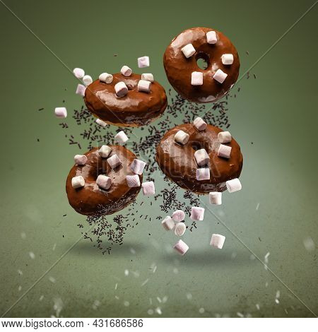 Flying Chocolate Glazed Doughnuts Decotrated With Marshmallows