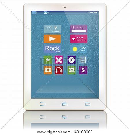 Белый планшетный компьютер с цвет иконки на дисплее