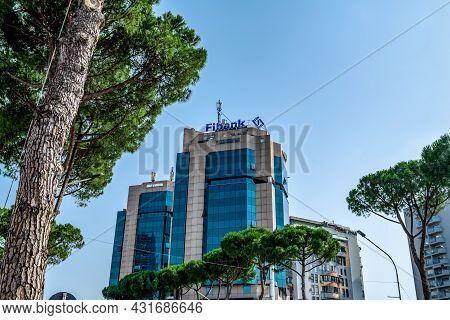 Tirana, Albania - June 21, 2021: Fibank Logo On The Roof Of The Twin Tower Skyscraper In Tirana. Bea