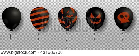 Black Air Balloons For Halloween Design Isolated On Transparent Background