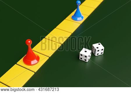 Blue And Red Game Pieces And Two Dice: Entertainment, Home Games For The Whole Family, Board Games C