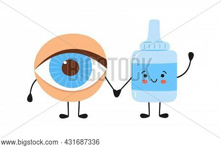 Kawaii Human Eye And Medical Drops Characters. Medicine For The Health Of The Eye. Treatment Of Conj