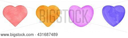 Set Of Colorful Watercolor Hearts Drawn By Brush. Vector Illustration Isolated On White Background
