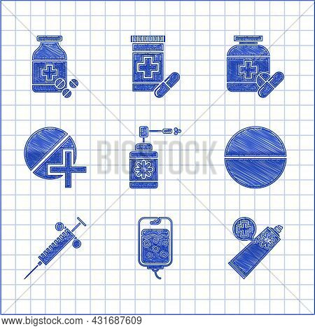 Set Medical Bottle With Nozzle Spray, Iv Bag, Ointment Cream Tube Medicine, Medicine Pill Or Tablet,