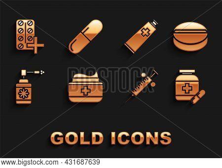 Set Ointment Cream Tube Medicine, Medicine Pill Or Tablet, Bottle And Pills, Syringe, Medical With N