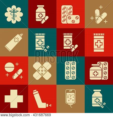 Set Medicine Bottle And Pills, Pills Blister Pack, Ointment Cream Tube Medicine, Emergency Star Medi