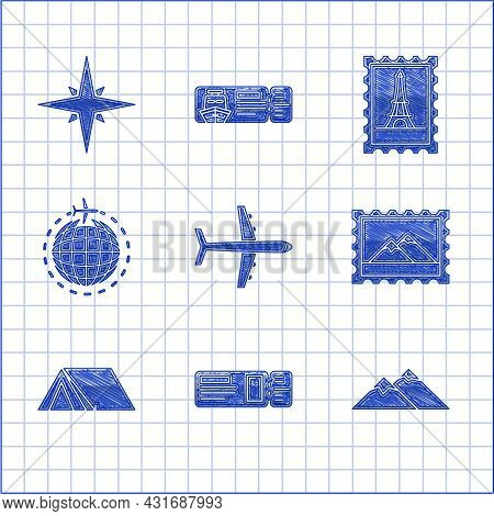 Set Plane, Travel Ticket, Mountains, Postal Stamp And, Tourist Tent, Globe With Flying Plane, Eiffel