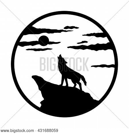 Silhouette Of Wolf Howling At Moon On Mountain. Landscape In Circle. The Illustration Is Isolated On