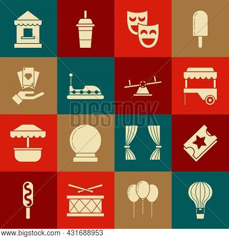 Set Hot Air Balloon, Ticket, Fast Street Food Cart With Awning, Comedy Theatrical Masks, Bumper, Han