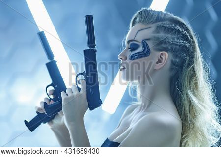 Sci-fi cyborg soldier girl. An attractive girl cyberpunk stands on alert with guns among the neon lights. World of the future. Game, virtual reality.