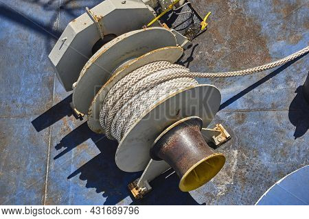 Vessel Deck Nautical Rope. Moor. Maritime Equipment. Naval