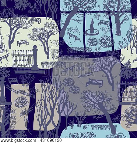 Winter Urban Landscape With Park Trees Of City Street Seamless Pattern. For Baby Clothes, Bedding De