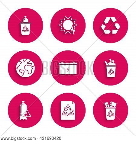 Set Car Battery, Paper With Recycle, Recycle Bin Symbol, Recycling Plastic Bottle, Earth Globe, And