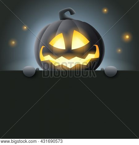 3D illustration of cute glowing Jack O Lantern black pumpkin character with big greeting signboard on black background.