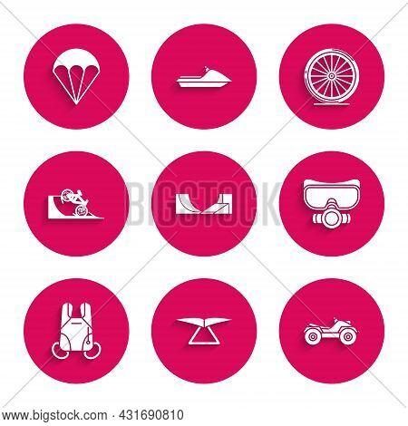 Set Skate Park, Hang Glider, All Terrain Vehicle Or Atv Motorcycle, Diving Mask, Parachute, Bicycle
