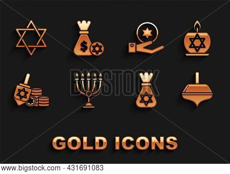 Set Hanukkah Menorah, Burning Candle In Candlestick With Star Of David, Dreidel, Jewish Money Bag, C