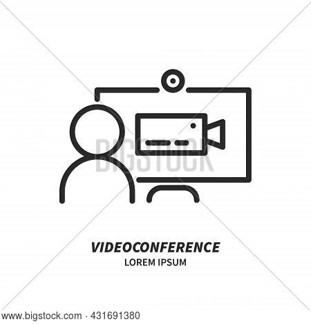 Computer With Human And Camera Icon On Screen, Online Meeting Line Icon Isolated. Logo. Video Confer