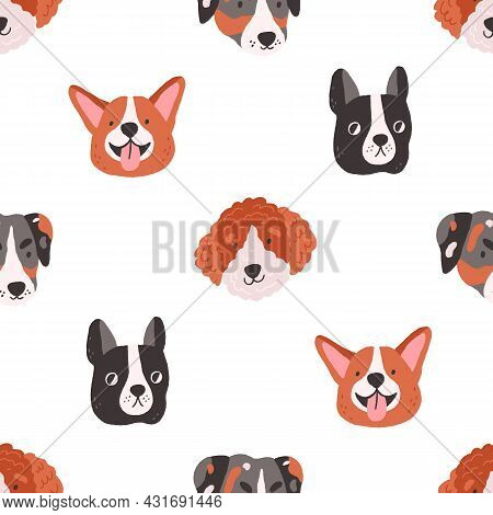 Seamless Pattern With Cute Funny Dogs Faces On White Background. Design Of Repeatable Backdrop With