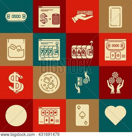 Set Playing Card With Heart Symbol, Hand Holding Casino Chips, Online Poker Table Game, Deck Of Play