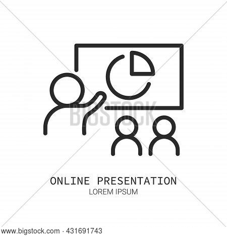Business Presentation Icon, Online Meeting Line Icon Isolated. Logo Concept. Video Conference Concep