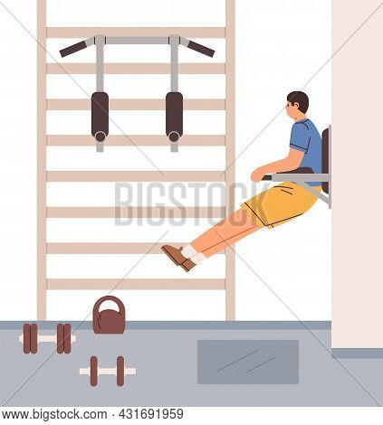 Man Doing Vertical Crunches For Abs On Hanging Leg Raises Machine. Person Training Abdominal Muscles