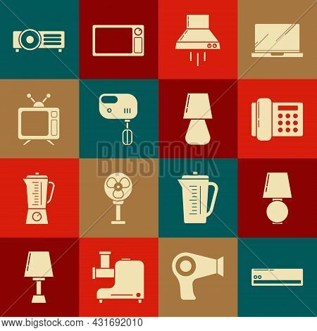 Set Air Conditioner, Table Lamp, Telephone, Kitchen Extractor Fan, Electric Mixer, Television, And I