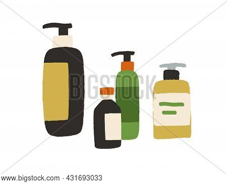 Bottles With Cosmetic Products And Beauty Essences. Cosmetics For Body, Hair, Skin And Facial Care.