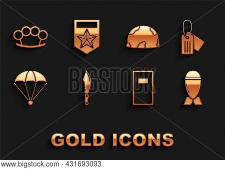 Set Military Knife, Dog Tag, Aviation Bomb, Police Assault Shield, Parachute, Helmet, Brass Knuckles