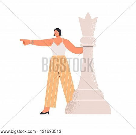 Determined Ambitious Business Leader Pointing At Strategic Goals. Leadership, Strategy And Tactics C