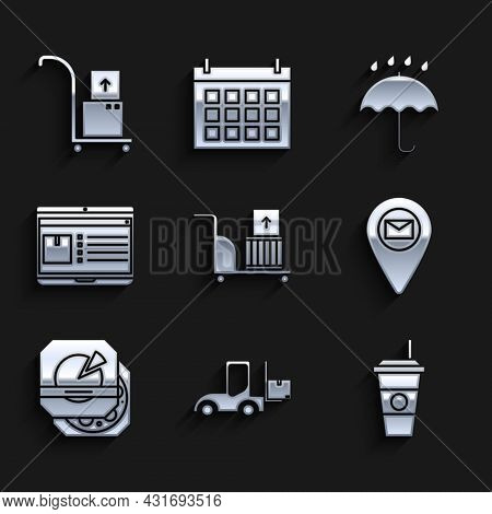 Set Electric Hand Truck And Boxes, Forklift, Coffee Cup, Placeholder On Map Paper, Pizza In Cardboar