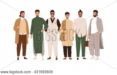 Group Portrait Of Arab Muslim People. Modern Saudi Arabian Men In Fashion Outfits. Middle East Happy