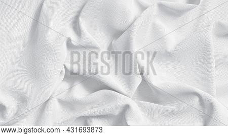 Blank White Crumpled Fabric Material Mockup, Top View, 3d Rendering. Empty Cotton Surface With Creas