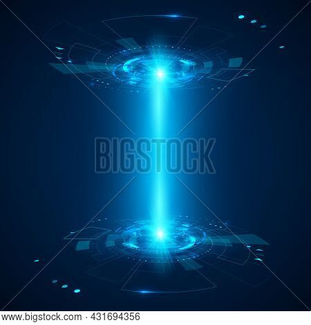 Abstract Futuristic Object Hud Element. 3d Hologram Display. Science And Technology Or Sci Fi. Vecto