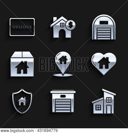 Set Map Pointer With House, Garage, House, Heart Shape, Shield, Cardboard Box, Warehouse And Doormat