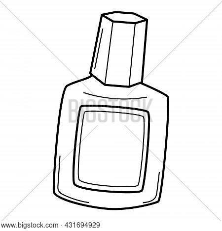 A Bottle With A Cap, A Correction Liquid. Doodle Outline Style. Hand-drawn Black And White Vector Il