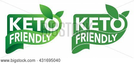 Keto Friendly Green Sticker For Food That Satisfy Low-carbohydrate Diet Conditions. Decorative Badge