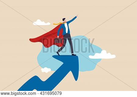 Success Leader, Business Professional With Super Power, Company Hero Who Succeed In Work And Achieve
